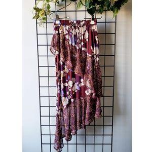 Burgundy Asymmetrical Ruffled Floral Skirt